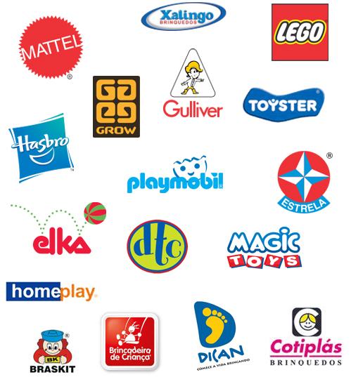 Brinquedos Matel, Xalingo, Lego, Hasbro, Grow, Gulliver, Toyster, Playmobil, Elka, DTC, Estrela, Home Play, Magic Toys, Braskit, Brincadeira de Criança, Dican, Cotiplás
